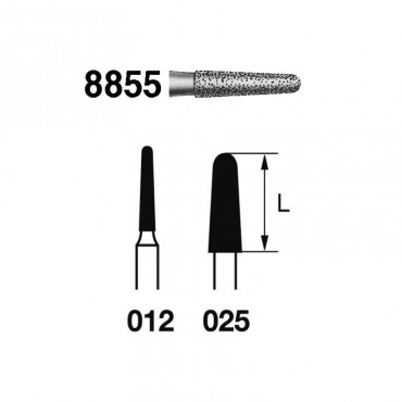 Fresa Diamante FG 8855.314 Clínica Fino Cónico 5 uds