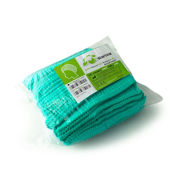Cofia Bouffant 50cm Elástica Verde 100u